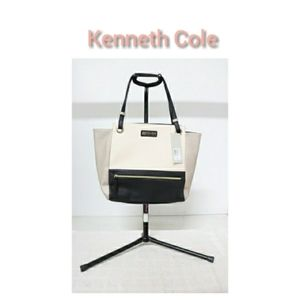 Kenneth Cole Ecru/Pewter Faux Leather Tote-NWT
